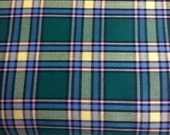 Green Tartan Fabric, Green Plaid Fabric, Tartan Plaid, Christmas Fabric, By the Yard, Half Yard, Sewing Projects, Crafts, Alberta Tartan