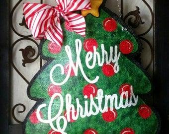Holiday door hanger. Merry Christmas, hand painted burlap door decor. Christmas tree, wreath
