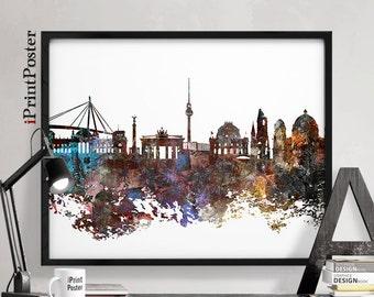 Berlin skyline, Berlin poster, Germany, Deutschland, wall art, city prints, travel poster, home decor, distress, travel poster, iPrintPoster
