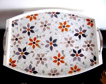 Acuto Serving Tray, Mosaic Tray, Flower Tray,  Wood Tray, Home Gift,Handmad Tray, Garden Tray, Tray For Oficce