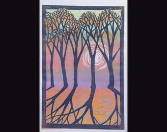 Dawn Trees Linocut 3