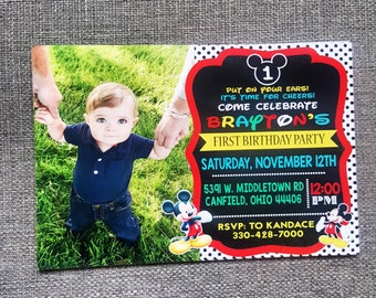 mickey mouse printable first birthday invites, mickey mouse photo invitations, mickey mouse clubhouse first birthday invitations
