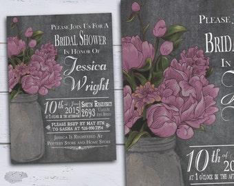 Printable Bridal Shower Invitations, Rustic Bridal Shower Invites, Chalkboard Floral Wedding Shower, Country Bridal Shower, DIY Pink Peonies