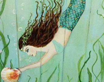 Mermaid Art, Beach Painting, Mermaid Bathroom, Wood Coastal Decor, Nautical Wall Art, 11X28 inches.
