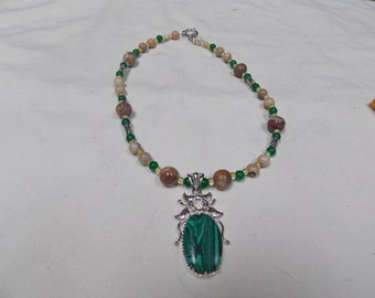 Hand made one of a kind Necklace Malachite