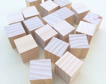 20 x Small wooden Montessori blocks - 40x40mm