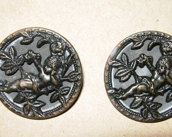 """Antique Metal Cupid Buttons, Matching Set Of 2, 1-1/4"""""""