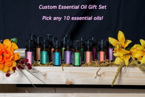 Custom Essential Oil Gift Set, Pure Essential Oils, Therapeutic Grade Essential Oils, Aromatherapy, Massage, Bath and Beauty