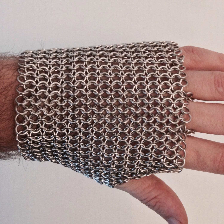 Nickel Free Aluminum Fingerless Chainmail Metal Glove Silver