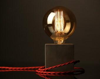"Concrete Lamp ""The Cube"" - Lighting - Dark grey concrete table lamp with red textile cable, Loft, Loft light, Concrete Lamp, Concrete, Lamp"