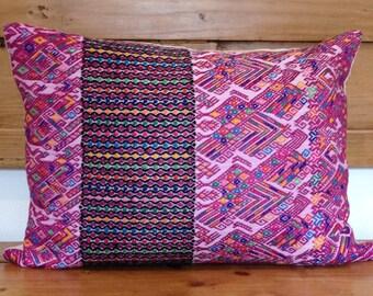 Vintage Mayan Huipil Guatemalan Textile Pillow Cover, 14x19, Handmade, Ethnic