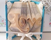 Made to Order. Love Book Folded Art. Blue with flowers. Valentines Day. Gift for him. Book Origami.