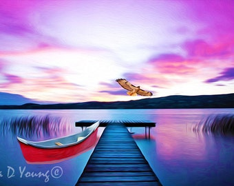 Mountain Lake Print, Dock on Summer Lake, Purple Sky, Red Canoe, Red-Tailed Hawk, Water Reflections, Nature Art Print, Fine Art Photography
