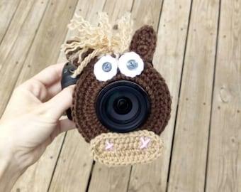 Horse camera buddy.  Lens pal.  Crochet photo buddy.