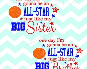 Basketball All-star like brother sister design SVG and studio files for Cricut, Silhouette, Vinyl Cutters and Screen Printing