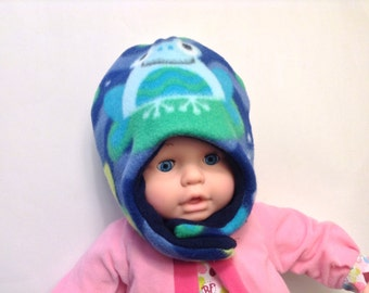 Baby Frog Hat, Baby Toad Hat, Baby Chin Strap Hat, Baby Reversible Hat, Frog Fleece Hat, Toad Fleece Hat,  3-6 Mo, 6-12 Mo, 12-24 Mo