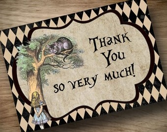 Alice in Wonderland Thank You Cards  ~ INSTANT DOWNLOAD