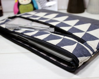 Macbook sleeve 12, Macbook Air case, 11 inch laptop case, grey laptop sleeve, zippered laptop case, triangle sleeve, Nordic laptop case