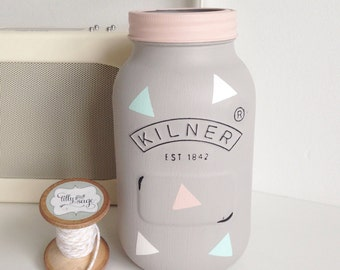 Hand painted large Kilner jar finished with triangles