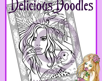 Digital Stamp, Colouring Page - Goddess Page, January