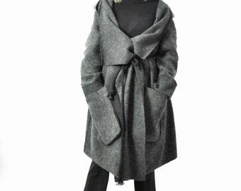 Gray 100% wool coat/Casual coat/Extravagant dark gray wool coat/Winter hooded coat/Asymmetrical coat/Coat with pocket/Handmade coatC1357