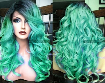 Pastel Lace Front Wig // Teal Blue Green Curly LACE Front & Skin Part Pastel Mermaid Wig w/ Wavy Ombre Turquoise Dark Roots Cosplay