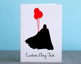 Star Wars Darth Vader Card - Custom Any Text - Silhouette Paper Cut Out - Birthday / Invitation Cards / Greeting Cards