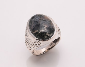 925 Solid Sterling Fine Silver mokkaite Ring