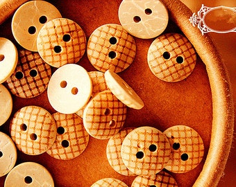 20pcs Coconut Buttons Natural Buttons Scrapbooking Sewing Button 13mm b09