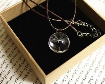Dandelion Seed Resin Pendant Necklace Sphere - Pressed Flowers encased in Resin Orb, Handmade Jewelry (Seed Included)