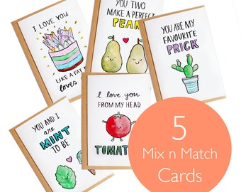 Mix and Match Card set - 5x A6 Blank Card - Watercolour