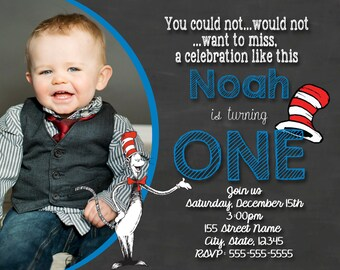 Dr Seuss Birthday Invitation / Dr. Seuss chalkboard invitation / Dr. Seuss cat in the hat / First Birthday / Dr. Seuss Birthday themed