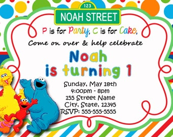Sesame Street Invitations / Elmo Invitations / Big Bird Invitations / Cookie Monster Invitations / Sesame Street Birthday Invitation