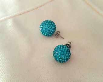 Cubic color disco ball earrings