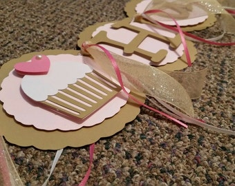 Pink & Gold Cupcake Birthday Banner