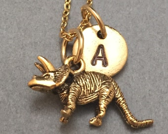Triceratops necklace, triceratops charm, dinosaur necklace, personalized necklace, initial necklace, initial charm, monogram, dinosaur charm