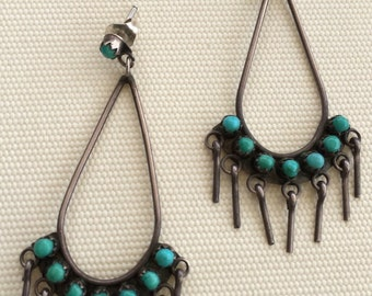 Vintage 1960's Native American dangle post earrings with Turquoise.