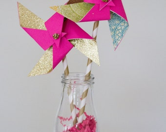 Pink and gold birthday, pink and gold first birthday, pink and gold party, pinwheels, paper pinwheels, childrens birthday
