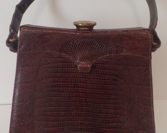 Sydney of California Brown Reptile Handbag