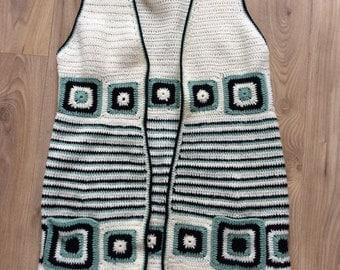 Vintage 70s Crochet waistcoat vest medium/large