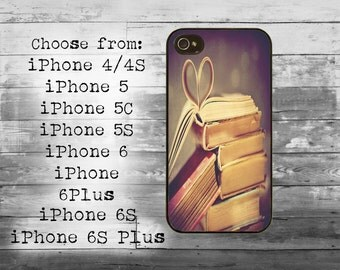 Vintage book covers heart reader phone cover - iPhone 4/4S, iPhone 5/5S/5C, iPhone 6/6+, iPhone 6s/6s Plus case - book cover iPhone case