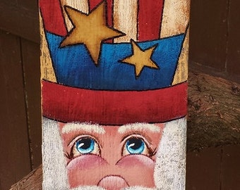 Hand Painted Uncle Sam Old Wood Fourth of July