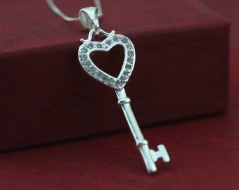 Sterling Silver Key Necklaces, Heart Key Necklace, Victorian key Heart Necklace, Key of my Heart Necklace, Silver Key Necklaces, Heart Charm