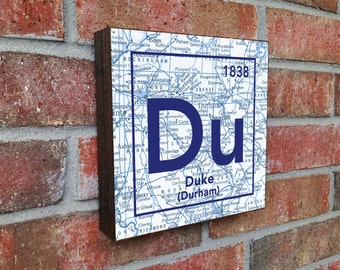 Duke Blue Devils University Durham NC Vintage Periodic Map ART PRINT on Wooden Canvas wedding Christmas gift for her Fathers day mothers day