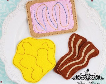 Felt food breakfast poptart, eggs, and bacon set ITH Embroidery design file 4x4 hoop