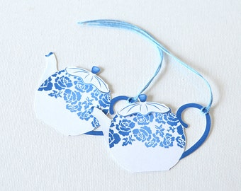 Tea Party Gift Tags Set of 10: teapot shaped tags with layered lids, blue floral design, party decor, vintage, elegant shower- LRD015TG