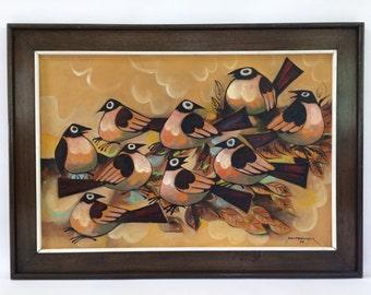 SALE MCM Modetnist Painting of Birds by Paco Gorospe
