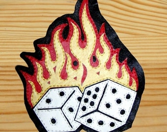"Leather patch ""Flaming Lucky Dice"""