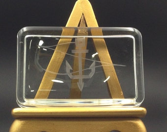 Vintage Paperweight with Etched Anchor Rectangle Recess Crystal