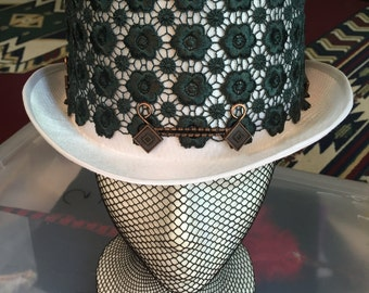 White Satin Top Hat with Dark Green Lace Flowers